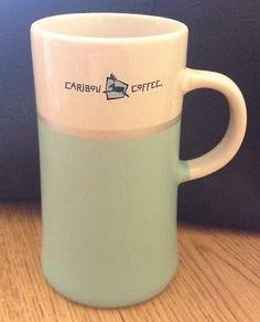 Caribou Coffee Mug Teal Pretty Tall Cup Retired Executive Retreat Decal Rare HTF Caribou Coffee, Holiday Drinks, Starbucks, Coffee Cups, Decal, Mugs, Tableware, Pretty, Coffee Mugs