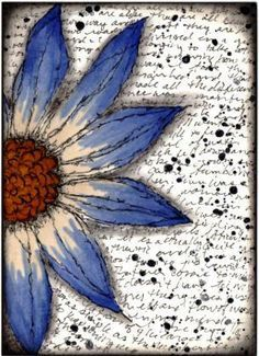 Lovely large watercolor flower on a journal page. The shadows give it depth.