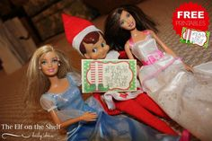 Elf on the Shelf Ideas and FREE Printable Elf on the Shelf Notes in this Barbie Fun with the Girls Idea. Details on Frugal Coupon Living.