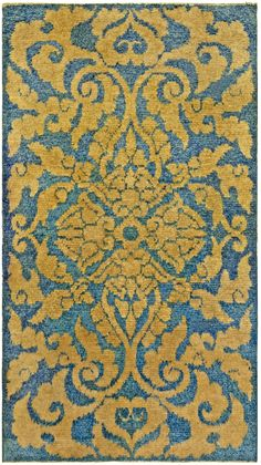 Vintage Rugs: Vintage Rug Chinese Art Deco  for modern or oriental interior decor living room, rug with floral botanical pattern