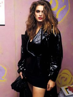 Style notes: the vinyl coat trend has been everywhere in but it was in the when one of the original supermodels, cindy crawford, Fashion Over 50, Fashion Looks, Original Supermodels, Penelope, 80s Outfit, Eighties Outfits, 80s Dress, Looks Chic, Cindy Crawford