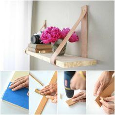 étagères artisanales en bois blond suspendues à des lanières de cuir