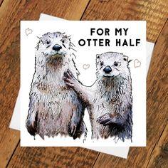 Fischotter Karte halben Geburtstag andere Freundin Freund Partner Jubiläum Wortspiel niedliche Tier lustige Tierliebe zeichnen ihn ihrem Mann Frau