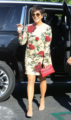 Flower power: Kris Jenner opted for a rose-covered ensemble to her book signing in Calabasas on Saturday 29 August 2015.