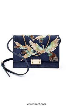 Replica Valentino Blue Embroidered Close Up Shoulder Bag - Fall/Winter 2014
