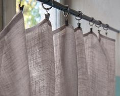 Farmhouse Ticking Stripe Cafe Curtains/Drapes/Valance/Pillow -Overall Buckle Tab Top Colors-Custom Curtains -Ships in Biz Days Boho Curtains, Cafe Curtains, Custom Curtains, Colorful Curtains, Burlap Valance, Burlap Fabric, Rideaux Boho, Farmhouse Cafe, Shabby Chic Cafe