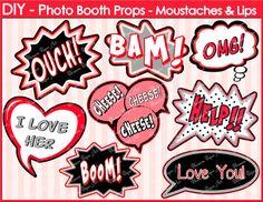 Printable Photo Booth Props - DIY - Speech Bubbles - Printables - Weddings - Parties - DIY Photo Booth Props - 1615