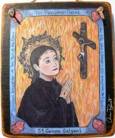 Saint Gemma Galgani Retablo  PRINT by Art4thesoul on Etsy, $30.00 St Gemma Galgani, Home Altar, Patron Saints, How To Distress Wood, Sacred Heart, Preserve, Amen, Hearts, Santa