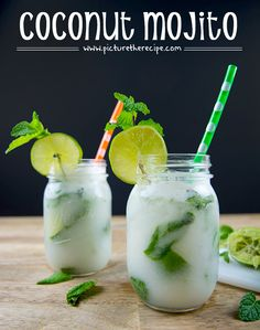 Coconut Mojito - PictureTheRecipe com 4-5 sprigs of fresh mint 1 1/2- 2 Limes 1 shot (1.5 fl oz or 44ml) Light Rum 1 shot (1.5 fl oz or 44ml) Coconut Rum 2-3 tbsp Cream of Coconut(sweetened) 6-8 fl oz club Soda