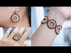 Elegant jewelry set. Easy to make beaded jewelry. Earring, bracelet, and ring - YouTube Beaded Bracelets Tutorial, Earring Tutorial, Seed Bead Bracelets, Beaded Rings, Beaded Jewelry, Leather Jewelry, Handmade Beads, Handmade Jewelry, How To Make Beads