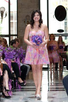 Patterned bridesmaids dresses