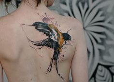 #tattoo #ink #inked #back #bird #splatter