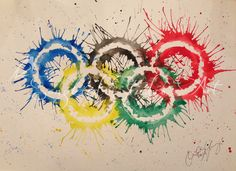 Olympic Rings Inverted Splash Watercolor by Songbird Studio Art.  Like us on Facebook!  For sale on Etsy here: https://www.etsy.com/listing/179839497/olympic-rings-inverted-splash-watercolor?