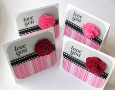 Handmade MIni Cards I Love You Set of 4 by MissTanDesigns on Etsy, $3.00