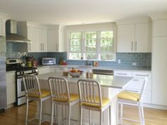 An Ikea Kitchen in Cape Cod with blue glass tiles Ikea Kitchen, Kitchen Redo, Kitchen Remodel, Kitchen Dining, Kitchen Ideas, Kitchen Makeovers, Kitchen White, White Kitchens, Kitchen Storage