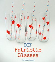 DIY 4th of July : DIY decorated glasses for the 4th of July