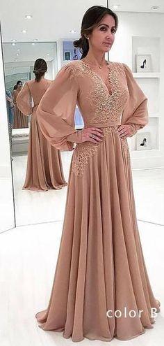34181d840da Pink Chiffon Long Sleeve Applique A-line Elegant Prom Dresses