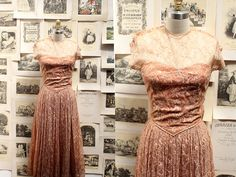 1940's Dusty Rose Lace Dress with Sheer Collar by ThistleandLace, $125.00