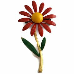 Red Daisy Flower enamel Brooch by EclecticVintager on Etsy, $10.00