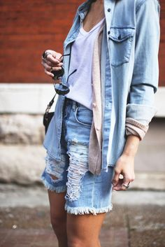 Denim on denim outfit for summer. Cotton, cardigan and denim shirt. Canadian tuxedo.