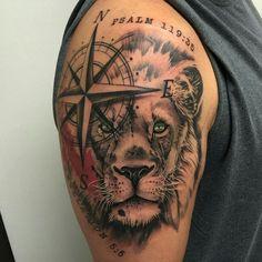 Arm Tattoos Lion Compass