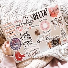 """""""Coffee on Me? KEEP READING ! ✨ this week I've been crazy thankful for my laptop & the freedom it allows me. this week I could hang out with…"""" Apple Laptop Stickers, Macbook Air Stickers, Mac Stickers, Cute Stickers, Mac Book, Calcomanía Macbook, Made Design, Aesthetic Stickers, Apple Products"""