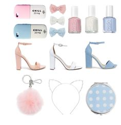 """""""Pink,withe☁️ and blue"""" by leatitiakhalid on Polyvore featuring beauté, Decree, Essie, Nly Shoes, My Delicious, Michael Kors, Steve Madden, Miss Selfridge et Cara"""