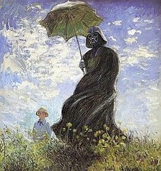 Claude Monet - Madame Money and Son Spoof - Darth Vader and Son. Star Wars & Fine Art Parody