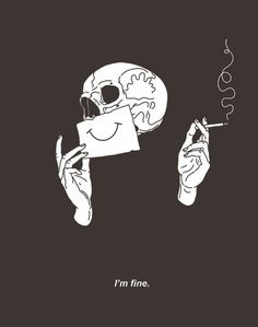 I'm fine skull with a paper smile Goth grunge illustration Skull Wallpaper, Dark Wallpaper, Skull Tatto, Art Sketches, Art Drawings, Kunst Tattoos, Art Tattoos, Skeleton Art, Skeleton Drawings