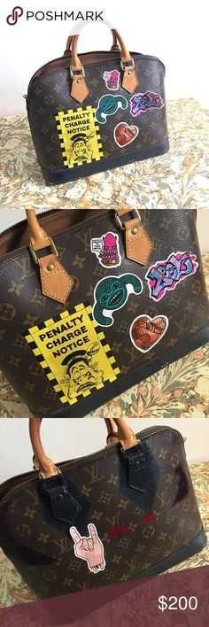 LV ALMA PM. 💯 authentic. The stickers and color paints are customized. Stickers are easy to remove. Zips are not smooth, but functional. 💯 authentic. No dust bag or lockers. Bought from vintage shop in Japan. Louis Vuitton Bags Satchels