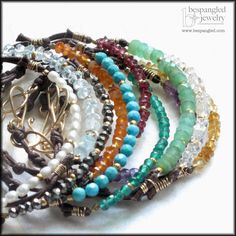 Stackable Multicolor Gemstones (Your Choice of Color) Knotted Brown Cord Bracelet - Yoga Jewelry on Etsy, $34.00