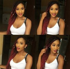 Burgundy Ombre box braids! Jumbo braiding hair! Want this color hair? Click the link below!  http://s.click.aliexpress.com/e/YJUFi2Jai