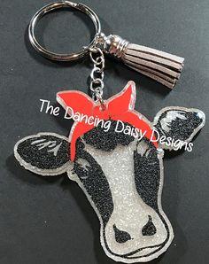 Cow with bandana acrylic keychain cow accessory key chain Diy Keychain, Keychain Ideas, Dancing Daisy, Cow Decor, Gems For Sale, Acrylic Keychains, Cow Shirt, Vinyl Projects, Circuit Projects
