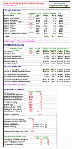 Screenshot of Stripe-Calc. A spreadsheet app that we may use for bidding jobs. Business Proposal Template, Proposal Templates, Parking Space, Parking Lot, Spreadsheet App, Arrow Stencil, Fitness Studio, Offices, Ranger