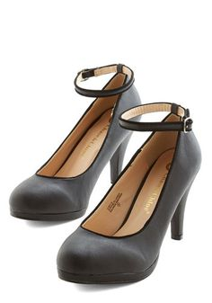 Amp Up the Allure Heel - Mid, Faux Leather, Black, Solid, Party, Work, Girls Night Out, Holiday Party, Vintage Inspired, 20s, Minimal, Good