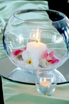 Fish bowl with a candel and flowers centerpiece.