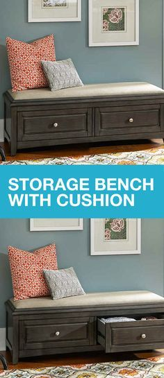 There is no such thing as too much storage in your home. The Albright Storage Bench with Cushion provides easy-to-access, out-of-sight storage behind two frame drawers. Ideal for an entryway, bedroom or den, the Albright easily stores books, blankets, toys and more. This great piece of furniture not only looks great in your home, but it will help reduce clutter by creating a space for extra items around your. Get organized during spring cleaning season and year-round!