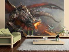 Photo Wallpaper Wall Murals Non Woven 3D Dragon Fire Modern