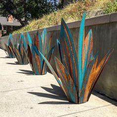 2 1/2 pie azul Tequila rústico escultura arte del Metal