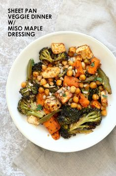 — made with rice. Lasted 4 meals instead of two. Sheet Pan Veggie Dinner with Broccoli, Sweet Potato, Tofu, Chickpeas, Sunflower seeds dressed with Miso Maple Dressing. Can be with chickpea miso Veggie Recipes, Whole Food Recipes, Vegetarian Recipes, Cooking Recipes, Healthy Recipes, Vegetarian Barbecue, Healthy Grilling, Veggie Meals, Vegetarian Breakfast