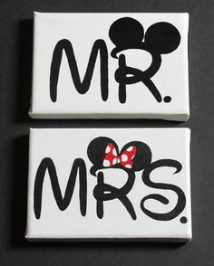 Mr. and Mrs. Disney Paintings on 5X7 Canvas by NothingButDisneyArt, $45.00