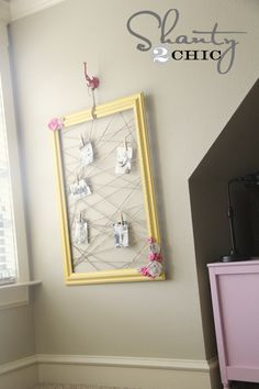 Easy DIY memo board- old frame, jute twine stapled on.   Love the Shanty girls' projects!!