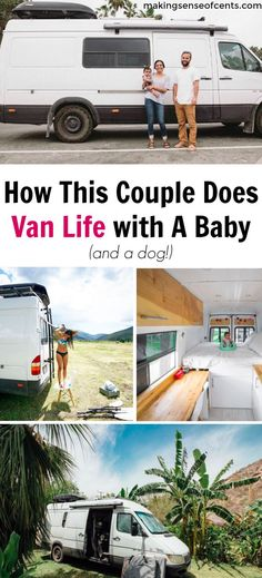 Giddi and Jace live in a van and travel full-time with their baby and dog. They are outdoor enthusiasts who purchased and converted a Sprinter van. Come here for van life DIY ideas, hacks, interior looks, tips, how they shower, how they afford their travel budget, and more! #vanlife