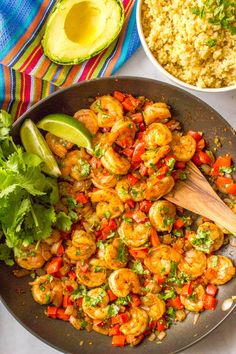 This quick and easy Mexican shrimp skillet is a one-pan dinner ready in just 20 minutes! | www.familyfoodonthetable.com