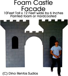 """Giant Foam Castle Facade Prop    This 10' tall by 12' wide by 6"""" thick castle facade prop is ready to use. Assemble in a few minutes.    Perfect for your display or event decoration."""