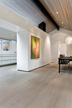 Oak wooden flooring with white oil at Casa Aarhus - Dinesen Tropical House Design, White Oak Floors, Floor Colors, Timber Flooring, Wood Interiors, Loft Design, Ceiling Design, Interior Design Living Room, New Homes