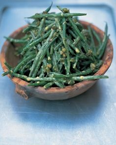 green bean salad by Jamie Oliver.  amazing warm or cold.  I mix fresh yellow and green beans when available!
