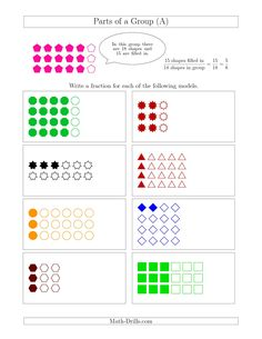 The Parts of a Group Fraction Models Up to Eighths (A) Fractions Worksheet