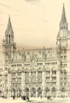 Architect: George Gilbert Scott One of the designs submitted for the Royal Courts of Justice competition in London, which was won by George Edmund Street. Gothic Style Architecture, Revival Architecture, London Architecture, Architecture Drawings, Classical Architecture, Historical Architecture, Architecture Details, Turkish Architecture, Old Building