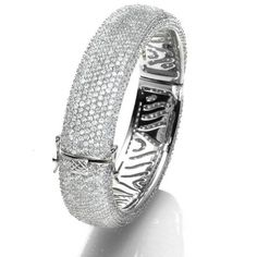 Currently on sale!! Save $500   B005075 - Pavé Cubic Zirconia and Sterling Silver Hinged Bangle